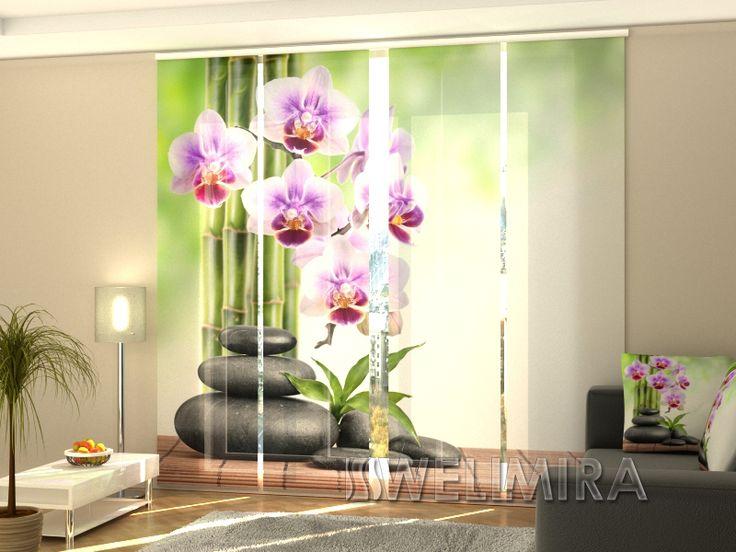 Unique Set of Panel Curtains Orchids and Stones Wellmira ModernCurtains PanelCurtains Curtains JapaneseCurtains Fotogardine Schiebevorhang Fl chenvorhang