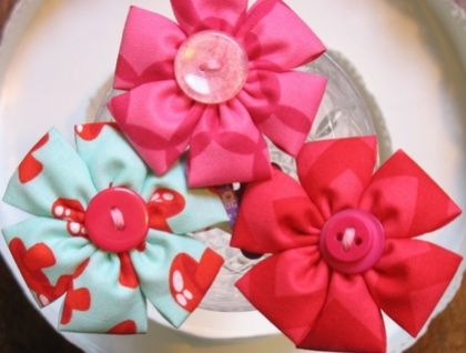 Six Petals Fabric Flower Hairclip - New Collection