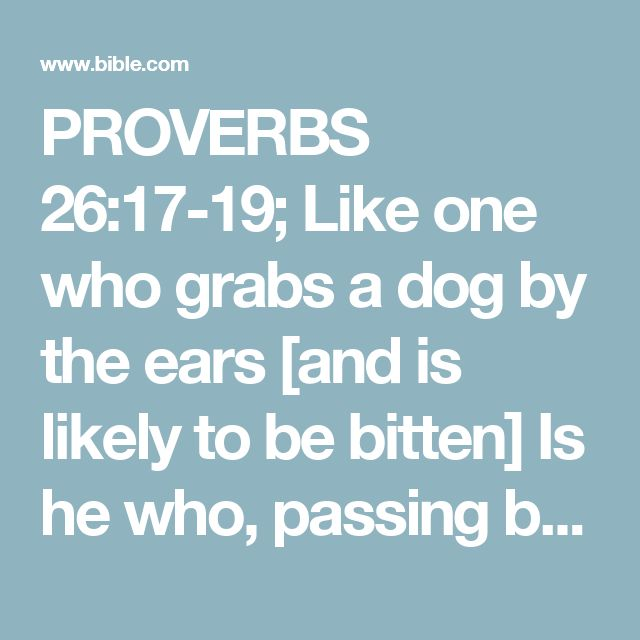 "PROVERBS 26:17-19; Like one who grabs a dog by the ears [and is likely to be bitten] Is he who, passing by, stops to meddle with a dispute that is none of his business. Like a madman who throws Firebrands, arrows, and death, So is the man who deceives his neighbor (acquaintance, friend) And then says, ""Was I not joking?"""