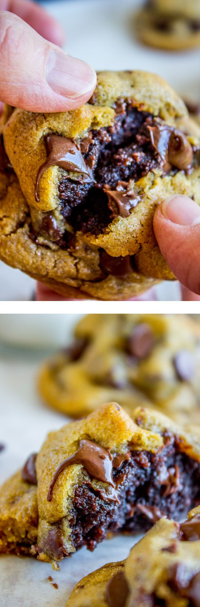 Brownie-Stuffed Chocolate Chip Cookies from The Food Charlatan. The contest between brownies and cookies is officially over, because now you can have them AT THE SAME TIME. Rich, soft, fudgy brownies, all stuffed inside golden tender chocolate chip cookies... Basically heaven. Pass the milk! These cookies are decadent and are perfect for any get together, cookie plate, or holiday dessert spread!