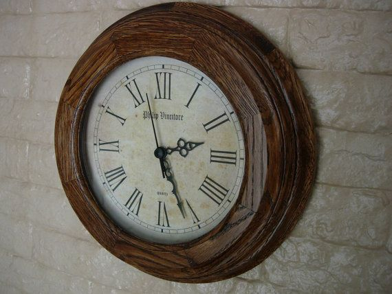 Stylish classic  round wall clock from oak and glass by WoodLucky, $63.00