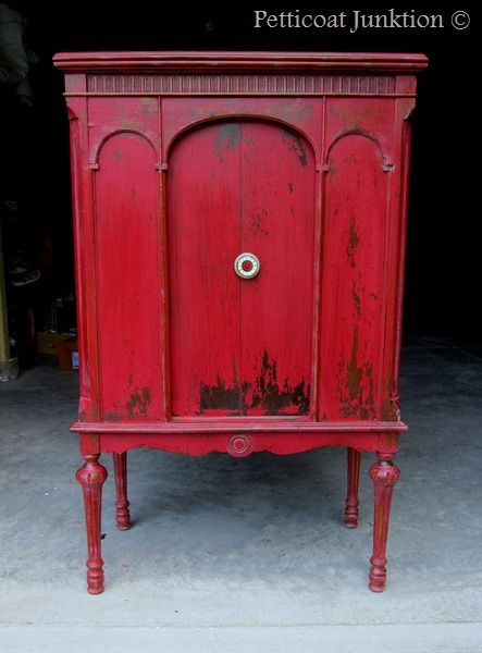 Miss Mustard Seeds Milk paint in Tricycle. Shabby chic red cabinet by Petticoat Junktion