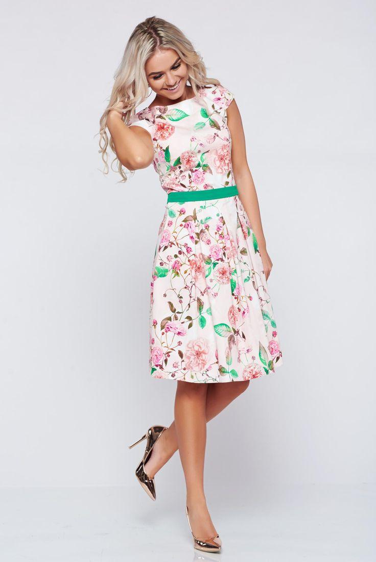 Comanda online, Rochie LaDonna piersica in clos din bumbac cu imprimeuri florale. Articole masurate, calitate garantata!