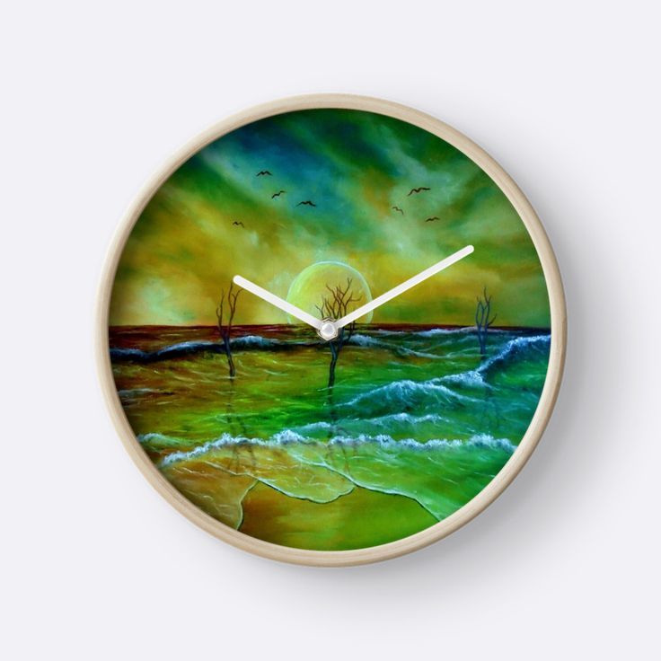coastal, theme, decor, ideas, waves, sunset, seascape, sky, trees, nature, landscape, fantasy, impresseive, colorful, green, golden, blue, for sale, artistic, Wall Clock