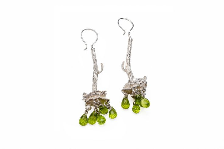 Sterling Stem Earrings Faceted Peridot Briolet Earrings