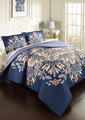 Marble Hill  Marble Hill Floral Fantasy Reversible 3-Piece Comforter Set - Multi - Full/Queen