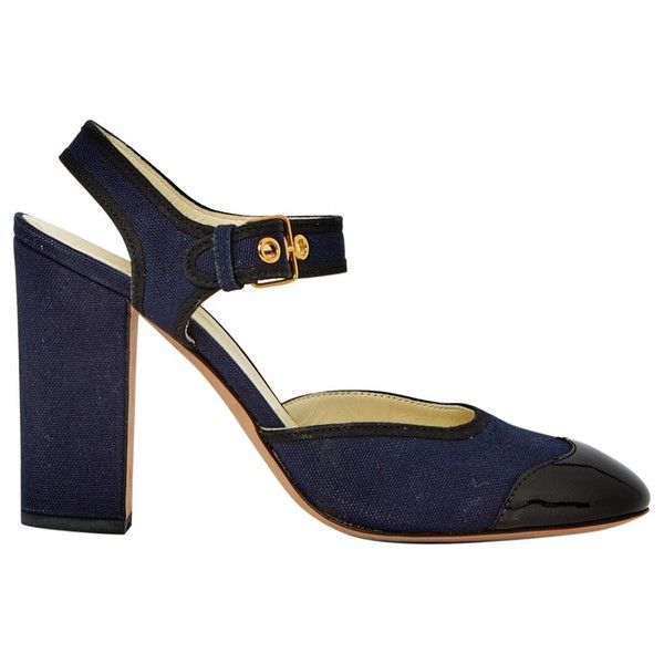 Pre-owned Miu Miu Navy Heels (£166) ❤ liked on Polyvore featuring shoes, pumps, navy, women shoes heels, navy pumps, navy blue shoes, pre owned shoes, navy blue pumps and miu miu