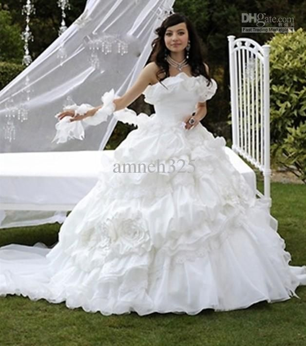 Wholesale Strapless White Taffeta And Organza Full Length Gypsy Wedding Dresses Ball Gown Bridal Gowns