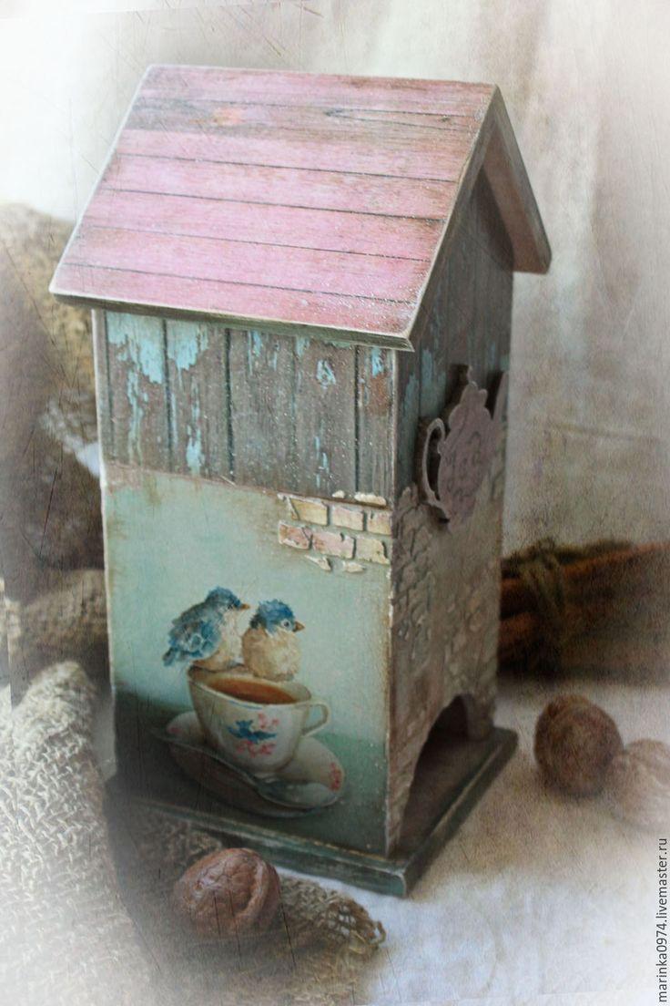 """Купить Чайный домик"""" Старое кафе, верные друзья"""" - голубой, старинный стиль, винтажный стиль"""