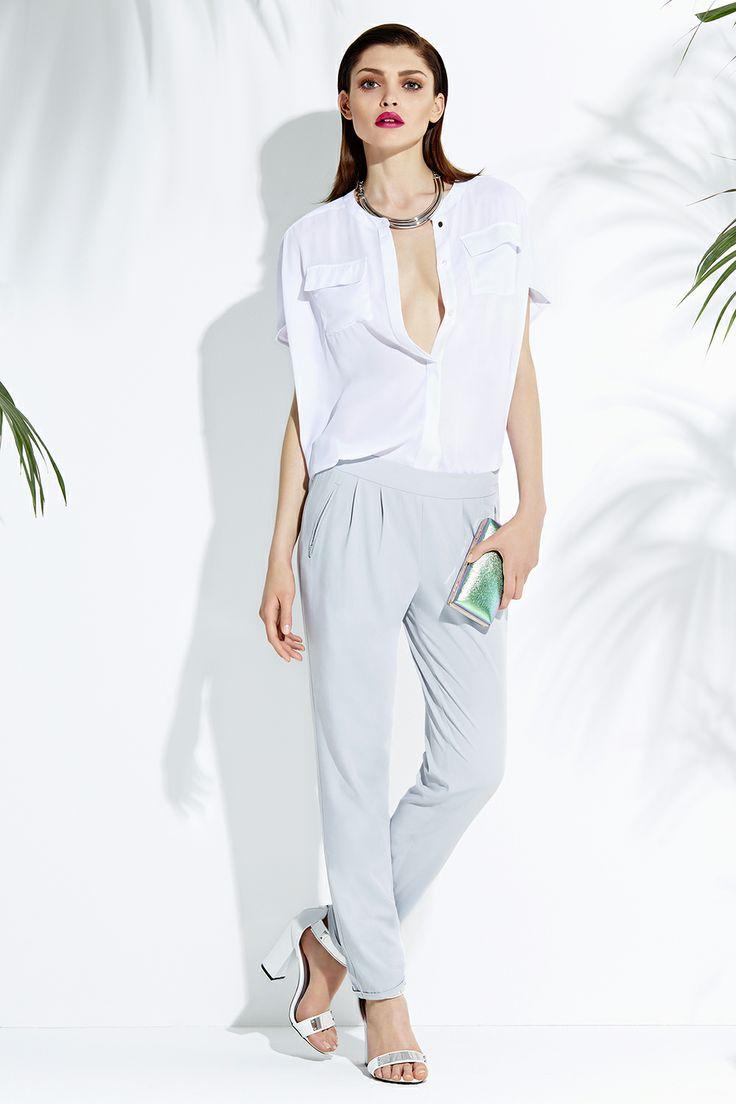 White shirt & grey trousers #summer #fashion #style