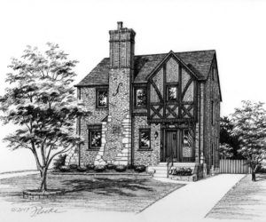 "8"" x 10"" pen and ink illustration of English Tudor style home (c) 2017 Richelle Flecke."