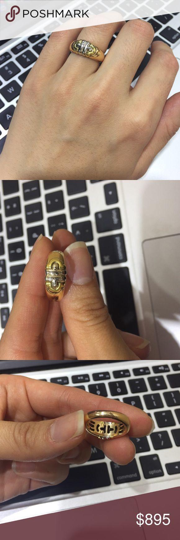bvlgari two tone parentesi 18k gold band ring
