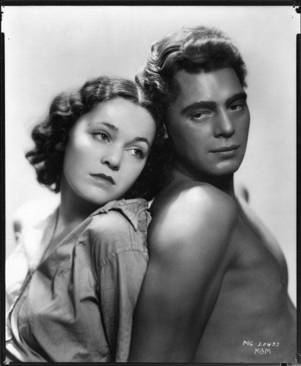 "George Hurrell - Johnny Weissmuller & Maureen O'Sullivan from ""Tarzan the Ape Man"" (1932)"