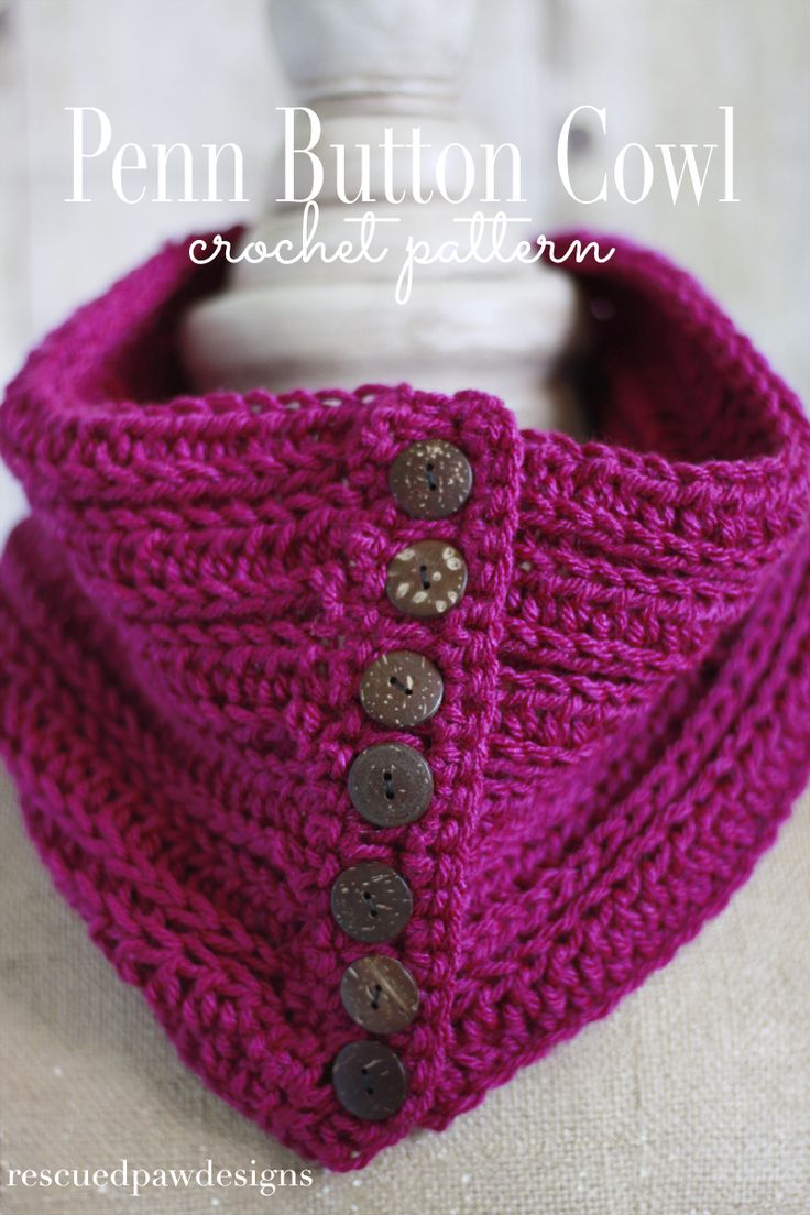 Penn Button Cowl: Free Crochet Pattern by Rescued Paw Designs. Make this beautiful cowl with less than one skein of Vanna's Choice (pictured in magenta) and a size I (5.5mm) crochet hook. Choose seven of your favorite buttons for a look that's one of a kind!