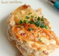 Gratin patate douce / pomme de terre à  faire en relançant la crème par de la crème soja et les lardons par des allumettes de poulet