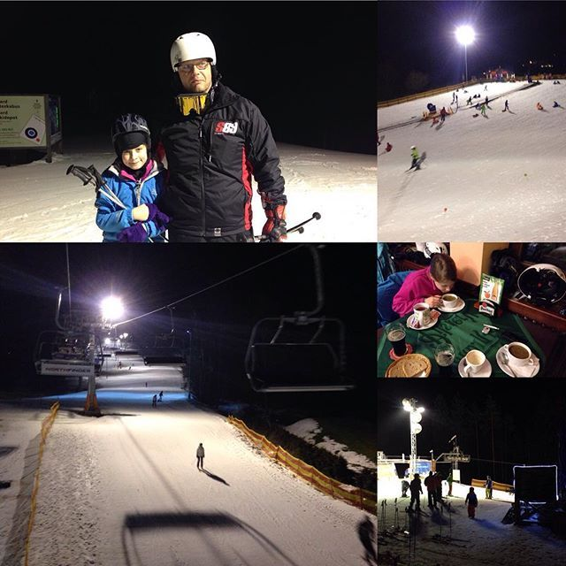 Night skiing and snacks with her daughter.  #ski #snow #relax #relaxing #snowboarding