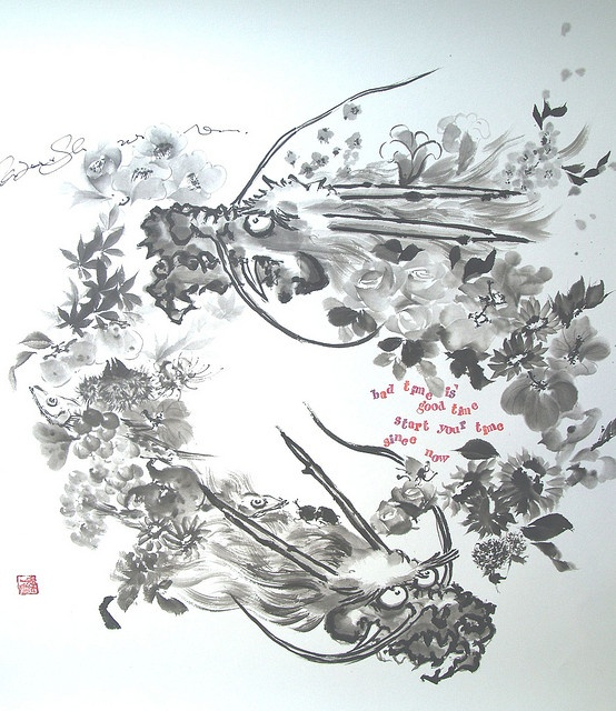 Flower Dragon Circle 花龍3 by Sumi-e Kazu Shimura, via Flickr