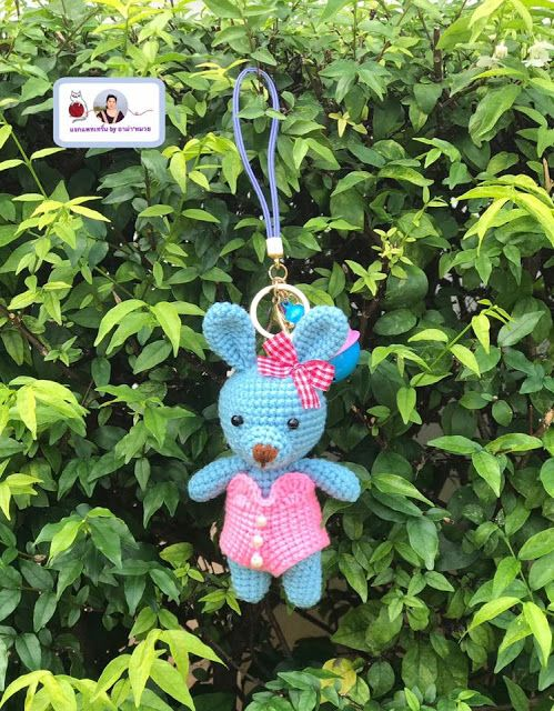 Little bunny amigurumi keychain free crochet pattern - Amigu World | 640x499
