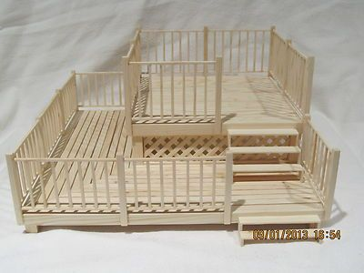 Dollhouse Patio 2 Tier Deck 1:12 Scale OOAK Handmade Real Wood