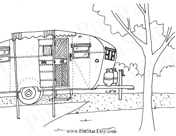 Perfect  Fifth Wheel Travel Trailer  Printable Coloring Page  Coloring