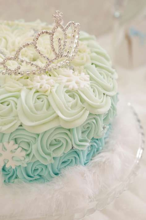 Lovely ombre rosette cake at an Elegant Frozen Birthday Party! See more party planning ideas at CatchMyParty.com!