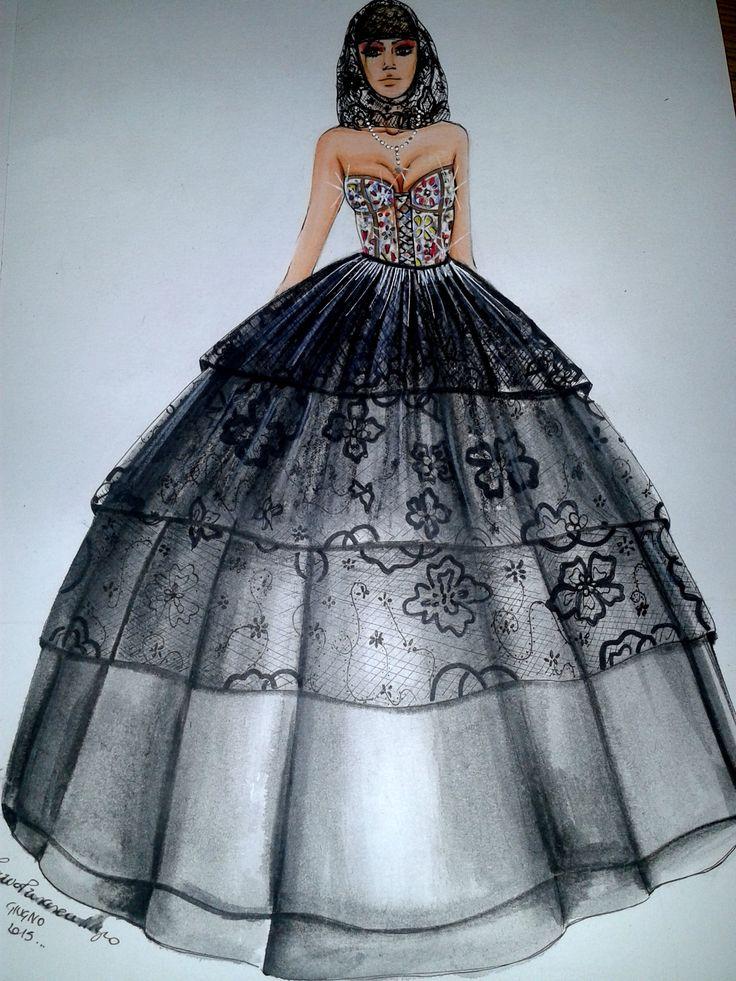 Fashion drawing. Dolce&Gabbana ispiration.  Nigro.