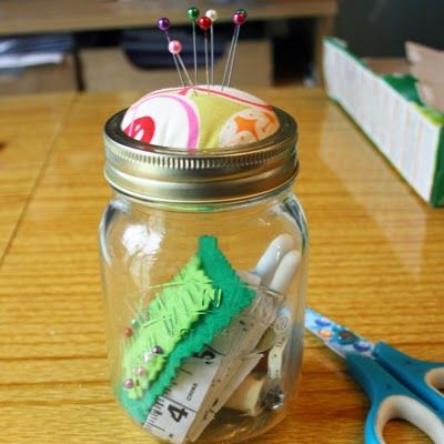Turn a kilner jar into a sewing jar with a pin cushion lid.