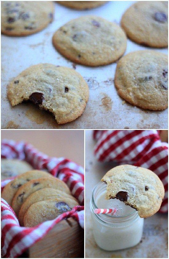 Chocolate Chip Cookies without Baking Soda or Baking Powder PAS ASSEZ DE FARINE ET PEU TROP DE BEURRE