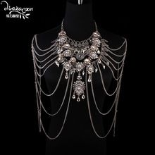 Dvacaman nuovo arrivo 2016 lungo nappa collana della catena del corpo bikini della spiaggia di cristallo corpo gioielli fatti a mano fai da te collana spalla x44(China (Mainland))