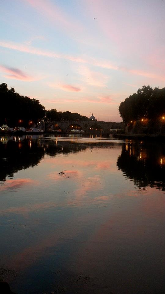 Sunset over the Tiber River in Rome, by Debbie Sokolowski (Summer Archaeology Field School 2012).