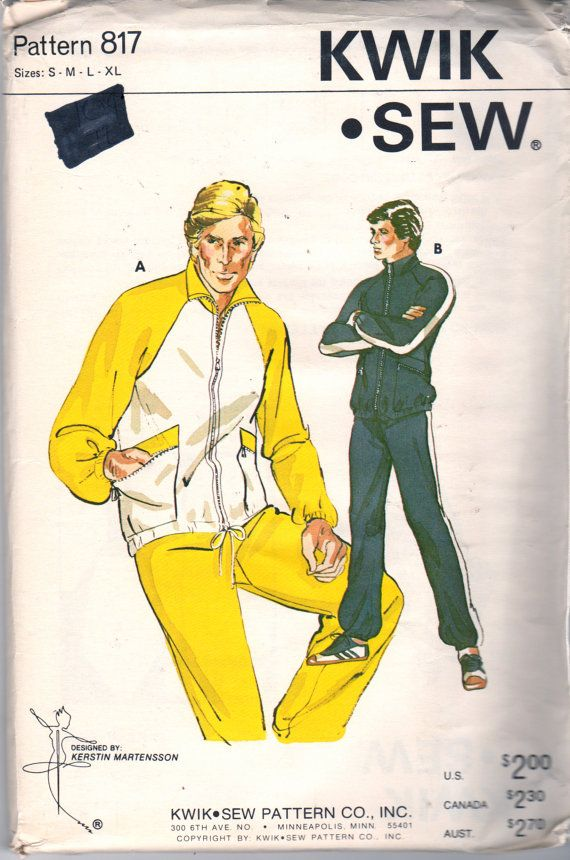 Kwik Sew 817 1970s Mens JOGGiNG SUiT Sweatsuit Sweat Pants Zip Front Jacket adule teen vintage sewing Pattern by mbchills