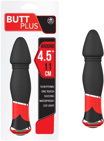 "Anal > Buttplug > 4.5"" Silicone Vibrating Butt Plug (Black) - www.bunnyleisure.com"