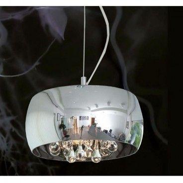 Lampa wisząca Crystal okrągły szklany klosz wewnątrz podłużne kryształy styl nowoczesny glamour- DOSTĘPNA OD RĘKI - LampyTanie - 778 PLN