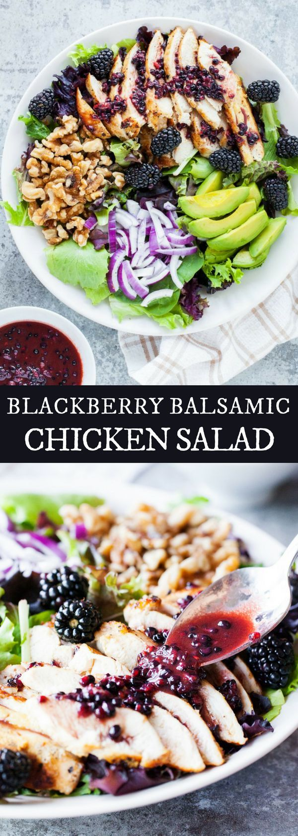 BLACKBERRY BALSAMIC CHICKEN SALAD | Looking for easy and healthy recipes this for Christmas and New Year?This blackberry balsamic chicken salad is full of fresh and juicy blackberries and drizzled over with a blackberry dressing. Check us out #iamhomesteader for more healthy homemade cooking and easy homesteading recipes you can do at home.  #Homestead #homesteading #food #healthyrecipes #healthy #recipeoftheday #recipeideas