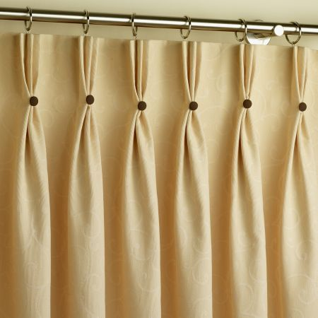 Pinch Pleat Curtains with Buttons - refashioning rod pinch pleat to these hooks