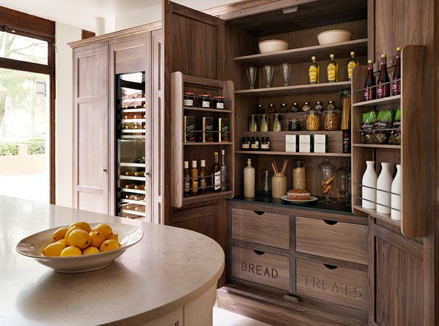 Teddy Edwards bleached oak tall larder cabinet. Love the multi-level storage and hidden pull out drawers.