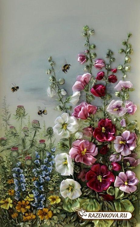 queenbee1924:  garden of ribbonwork   Embroidery, Ribbon~Silk~Unique ♥
