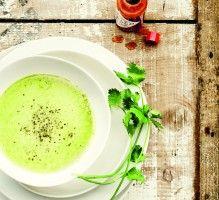 Recette - Soupe froide de cosses de petits pois à la coriandre - Proposée par 750 grammes