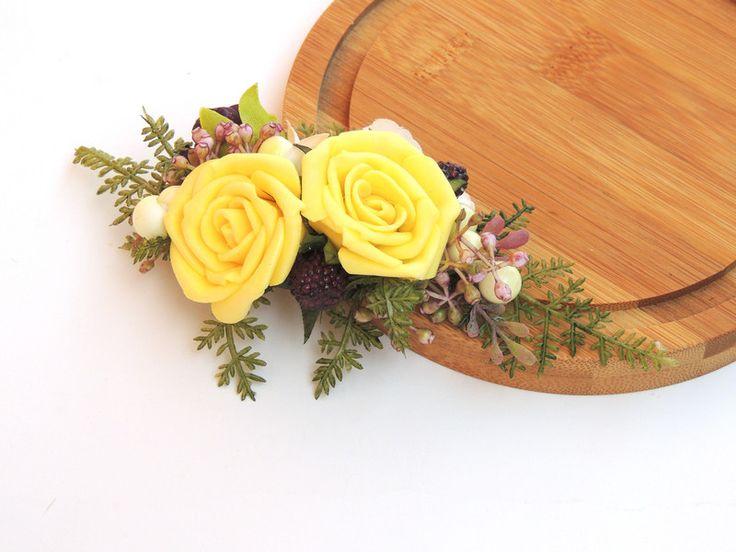 Stroik do włosów z różami w formie spinki - ArtMoss - Spinki do włosów