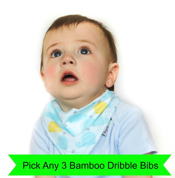 Choose your own set of 3  Bamboo Bandanna Dribble Bibs, Pick your own, Design your own, Baby Bib, Toddler Bib, Snap, Adjustable, Reversible