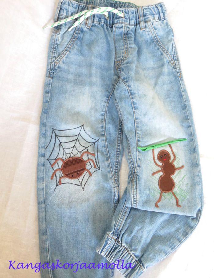 polvipaikat, farkkujen paikkaus, knee patch, mending jeans https://kangaskorjaamolla.blogspot.fi/2017/06/ideoita-paikkaamiseen.html