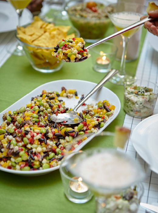 Colourful bean salad #vegan. -  recipe from Mexican-French chef Liz is available online now! #IKEAIDEAS for a bright, healthy dinner party