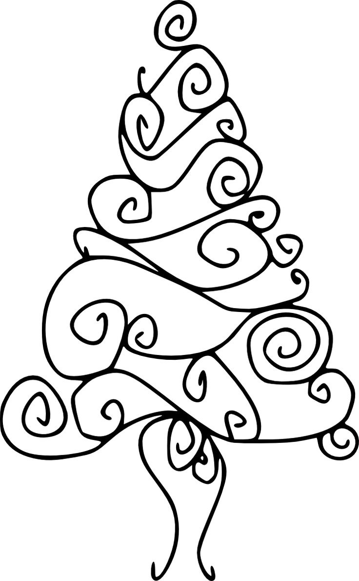 How to draw christmas tree red design hellokids com - This Christmas Tree Digital Stamp Is Formed From Hand Drawn Swirls