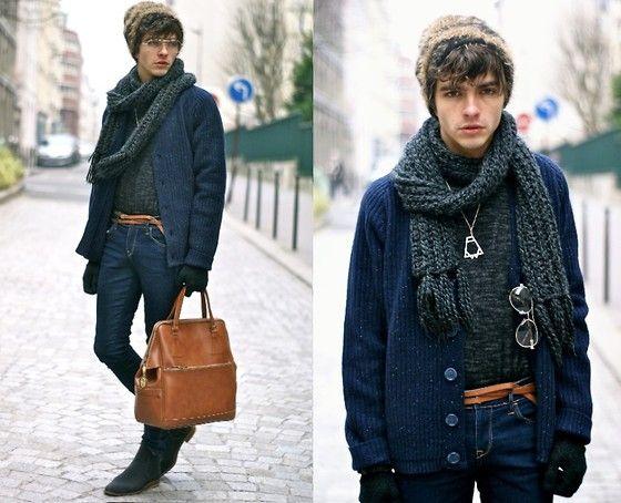 Velour Flecked Cardigan, H Skinny Jeans, Kenzo Sweater, Dries Van Noten Beanie, Muratti Canvas Boots, Titimadam Necklace