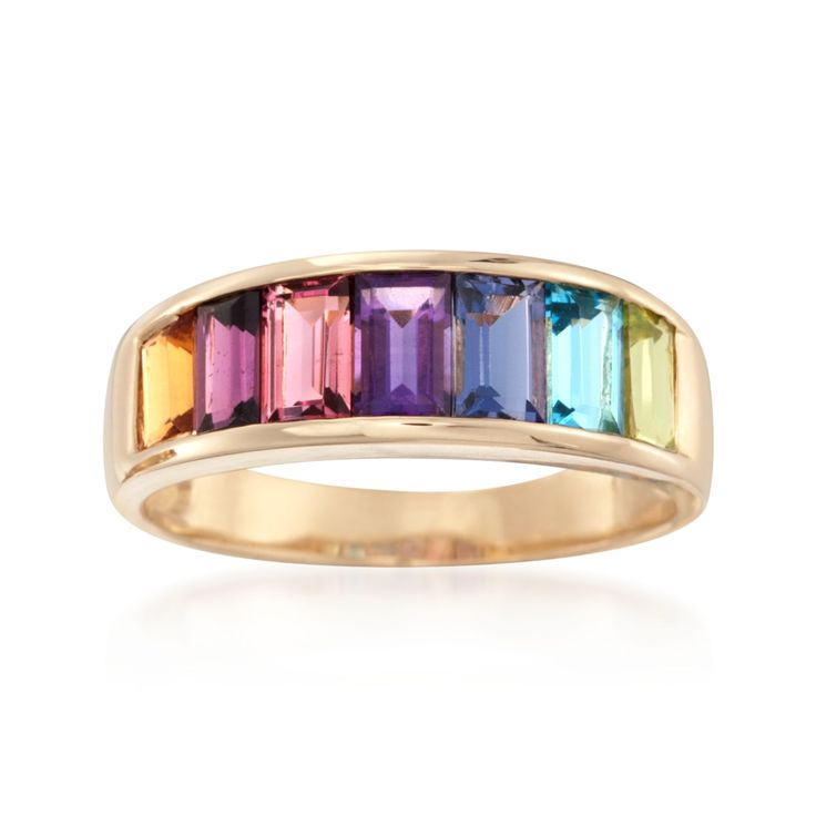 Get all the colors of the rainbow in this punchy multi-stone ring. Channel-set baguettes of peridot, blue topaz, iolite, amethyst, pink tourmaline, garnet and citrine come together for a total weight of 2.20 carats. 14kt yellow gold ring.     Free shipping & easy 30-day returns. Fabulous jewelry. Great prices. Since 1952.