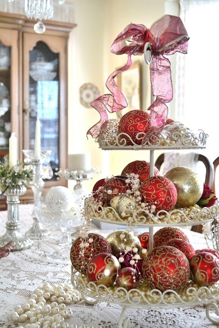 Joyous Holiday Bulbs, shiny colors of red and gold. Top it off with a pink ribbon.