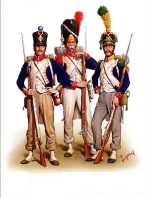 Francia- Infantería de linea fusilero, vieja guardia y guardia joven