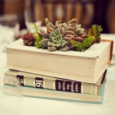 Repurpose a book as a succulent planter