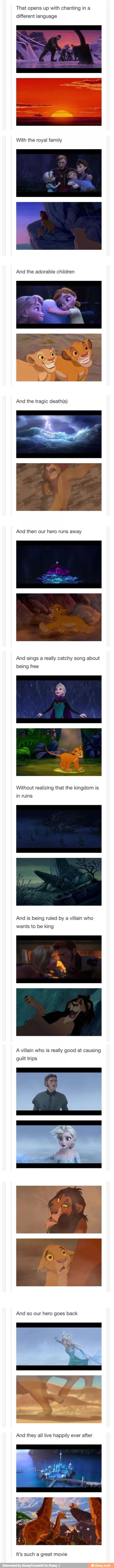 Um...Wow....never would have thought about Lion King and Frozen being the same movie... (Although when I first saw Frozen I did think they were singing the opening song of Lion King at first)
