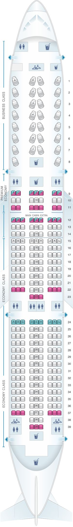 Seat Map American Airlines Boeing B787 9
